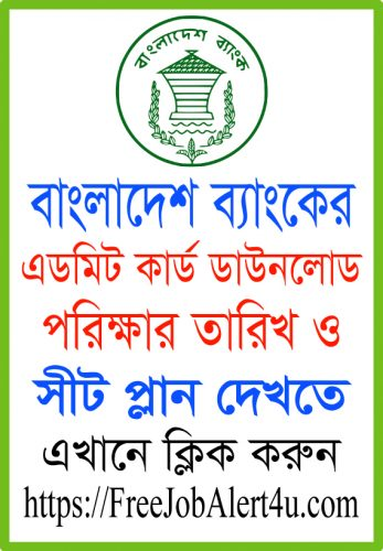 Bangladesh Bank Admit Card Download, exam date and seat plan