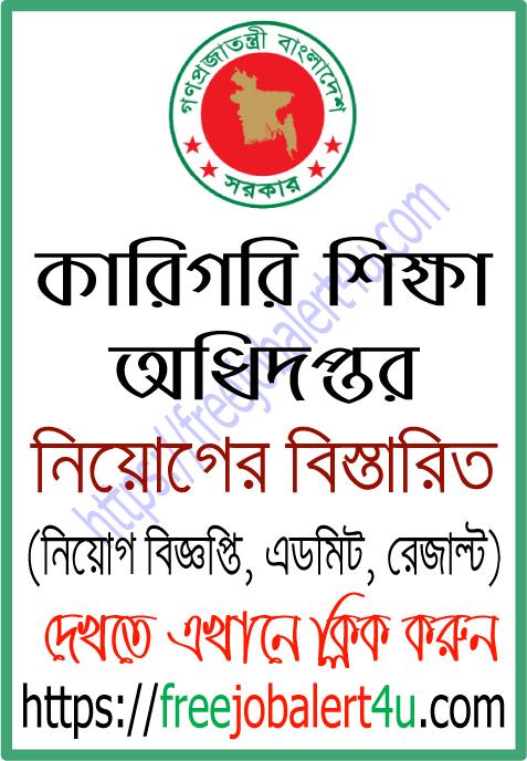 Directorate of Technical Education (DTE) job circular